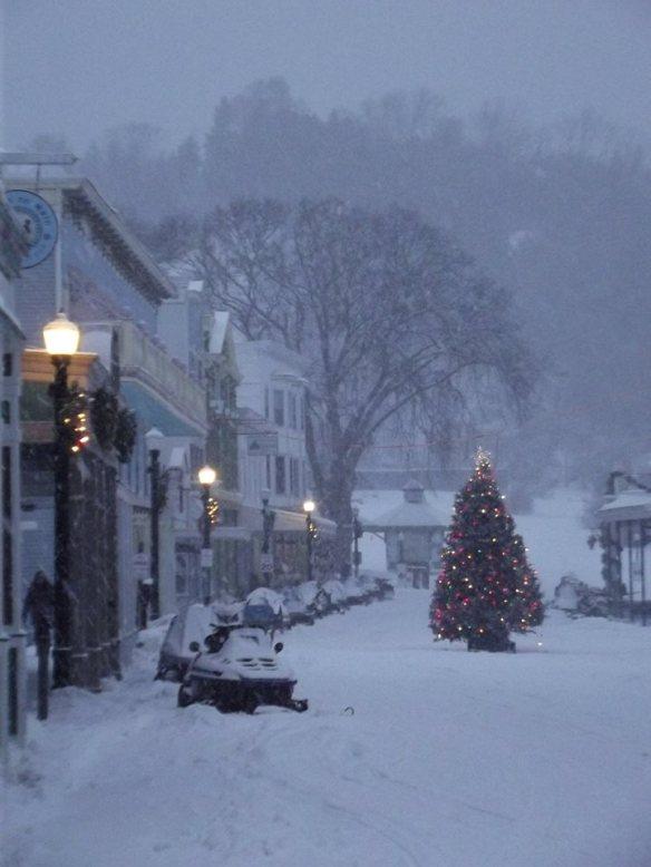 A Christmas scene on Main Street.