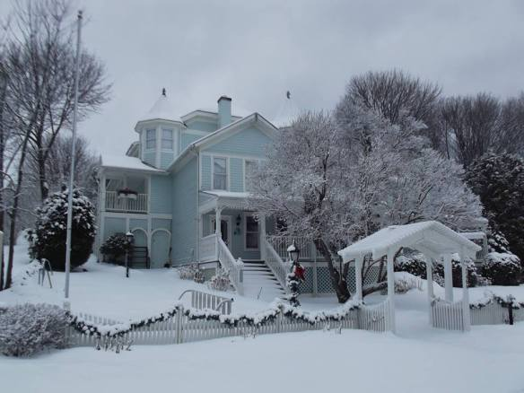 The beautiful Metivier Inn, dressed in her winter best.