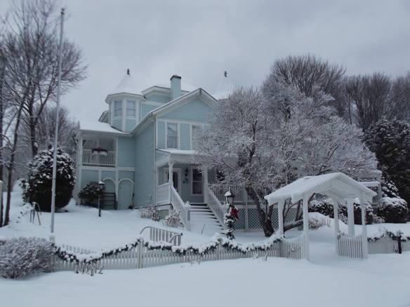 The beautiful Metivier Inn, dressed in her winter best.